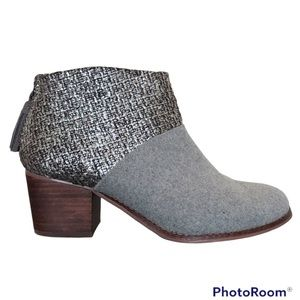 Toms Leila Bootie Grey Felt Shine Boucle Boot